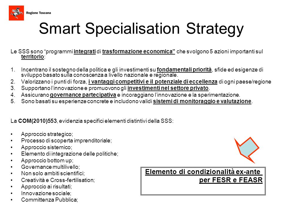 Smart Specialisation Strategy Le SSS sono programmi integrati di trasformazione economica che svolgono 5 azioni importanti sul territorio: 1.Incentran