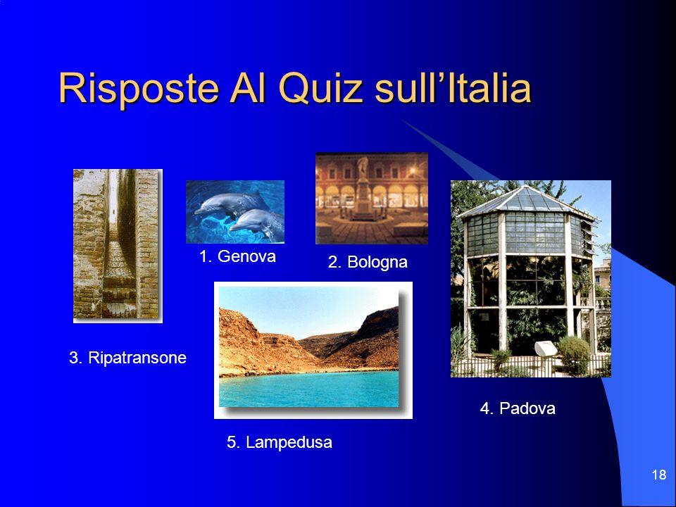 18 Risposte Al Quiz sullItalia 3. Ripatransone 1. Genova 2. Bologna 4. Padova 5. Lampedusa