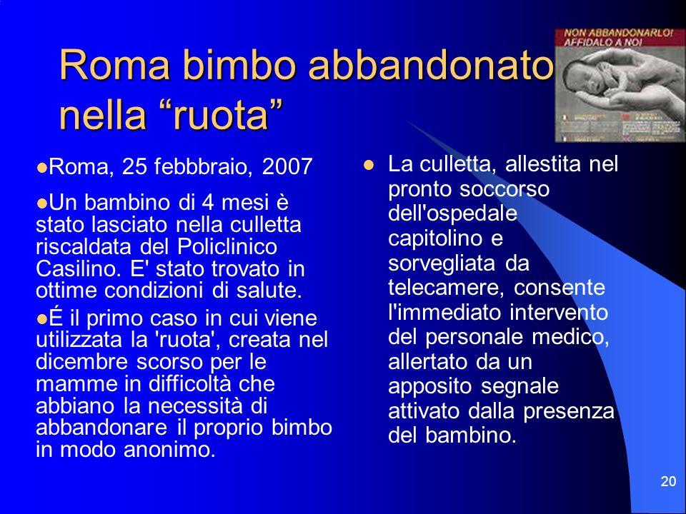 20 Roma bimbo abbandonato nella ruota La culletta, allestita nel pronto soccorso dell'ospedale capitolino e sorvegliata da telecamere, consente l'imme