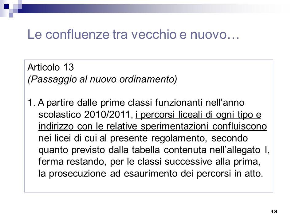 18 Articolo 13 (Passaggio al nuovo ordinamento) 1.