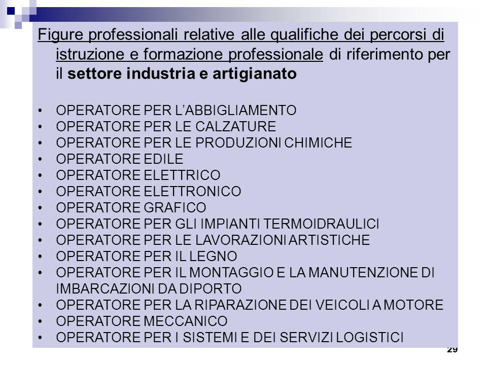 29 Figure professionali relative alle qualifiche dei percorsi di istruzione e formazione professionale di riferimento per il settore industria e artig