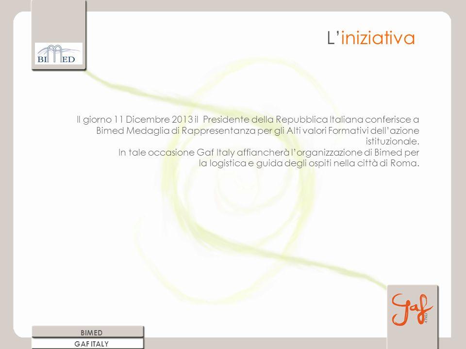 Il giorno 11 Dicembre 2013 il Presidente della Repubblica Italiana conferisce a Bimed Medaglia di Rappresentanza per gli Alti valori Formativi dellazione istituzionale.