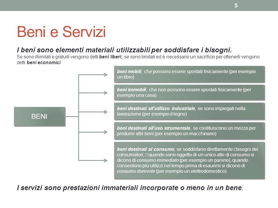Beni e Servizi I beni sono elementi materiali utilizzabili per soddisfare i bisogni.