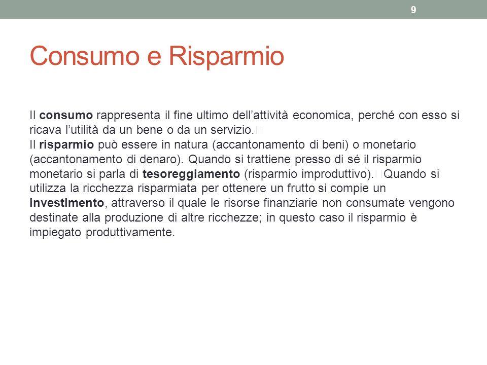 Consumo e Risparmio Il consumo rappresenta il fine ultimo dellattività economica, perché con esso si ricava lutilità da un bene o da un servizio.