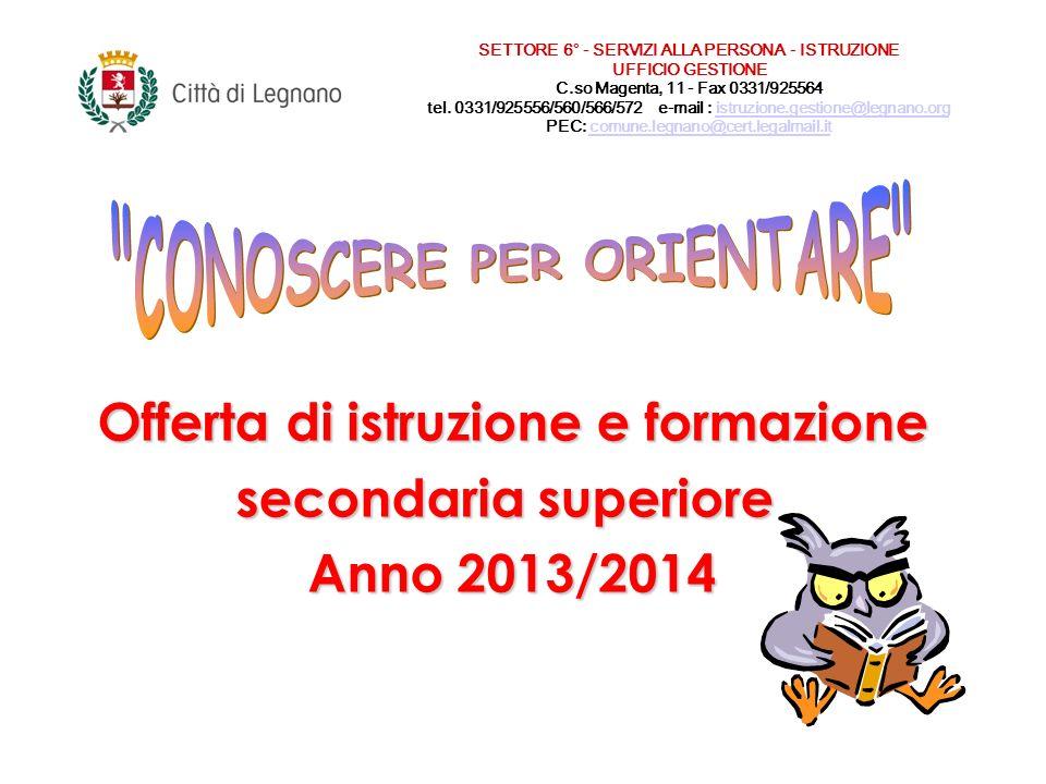 Offerta di istruzione e formazione secondaria superiore Anno 2013/2014 SETTORE 6° - SERVIZI ALLA PERSONA - ISTRUZIONE UFFICIO GESTIONE C.so Magenta, 11 - Fax 0331/925564 tel.