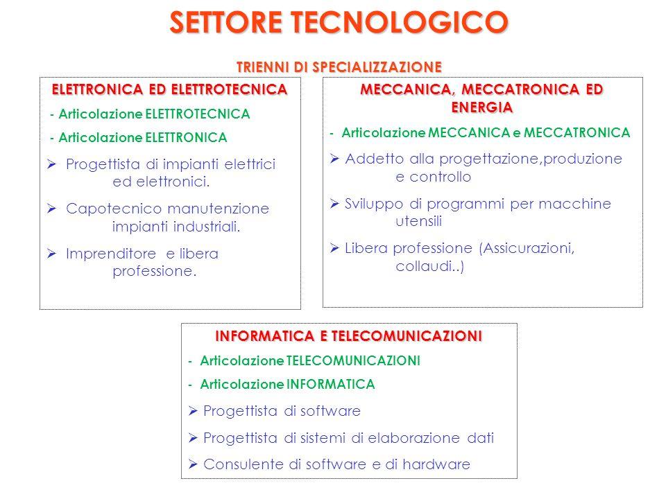 SETTORE TECNOLOGICO TRIENNI DI SPECIALIZZAZIONE ELETTRONICA ED ELETTROTECNICA - Articolazione ELETTROTECNICA - Articolazione ELETTRONICA Progettista di impianti elettrici ed elettronici.