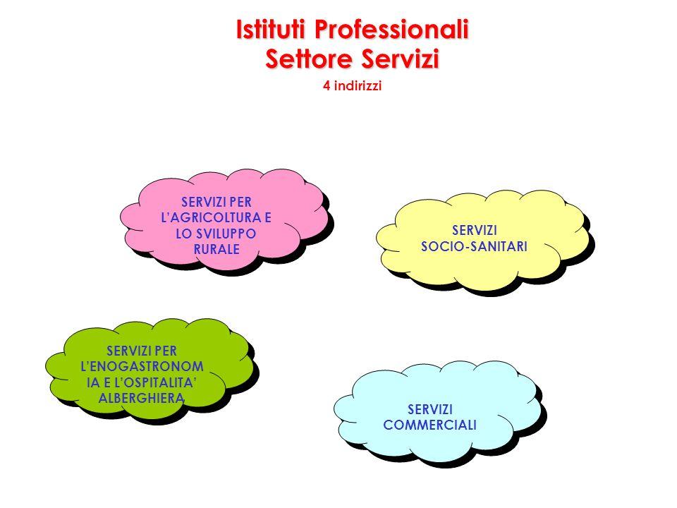 Istituti Professionali Settore Servizi 4 indirizzi SERVIZI SOCIO-SANITARI SERVIZI SOCIO-SANITARI SERVIZI PER LAGRICOLTURA E LO SVILUPPO RURALE SERVIZI PER LENOGASTRONOM IA E LOSPITALITA ALBERGHIERA SERVIZI COMMERCIALI