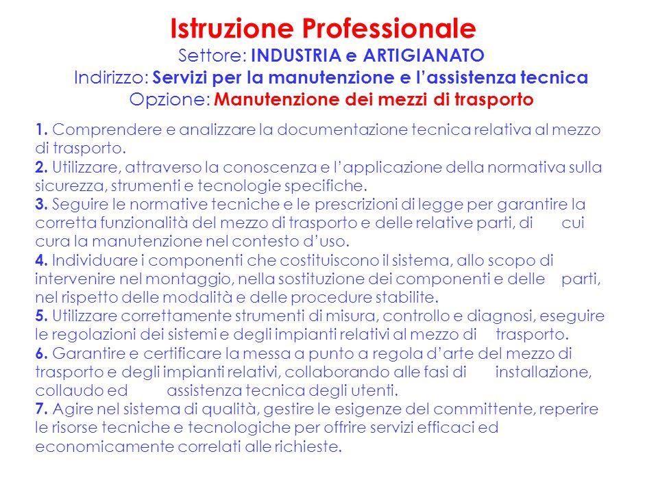 Istruzione Professionale Settore: INDUSTRIA e ARTIGIANATO Indirizzo: Servizi per la manutenzione e lassistenza tecnica Opzione: Manutenzione dei mezzi di trasporto 1.
