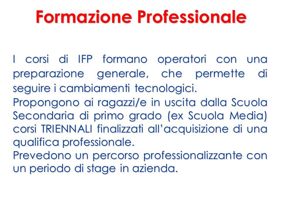 Formazione Professionale I corsi di IFP formano operatori con una preparazione generale, che permette di seguire i cambiamenti tecnologici.