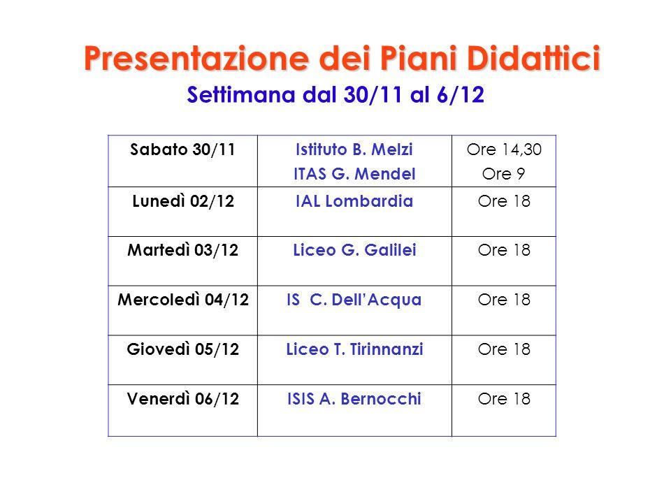 Presentazione dei Piani Didattici Settimana dal 30/11 al 6/12 Sabato 30/11Istituto B.