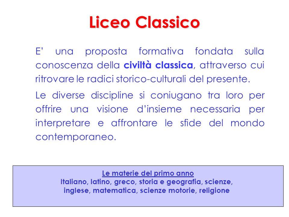 Liceo Classico E una proposta formativa fondata sulla conoscenza della civiltà classica, attraverso cui ritrovare le radici storico-culturali del presente.