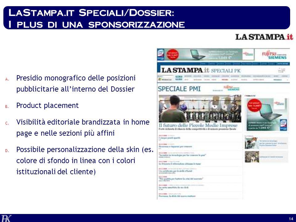 14 LaStampa.it Speciali/Dossier: I plus di una sponsorizzazione A. Presidio monografico delle posizioni pubblicitarie allinterno del Dossier B. Produc