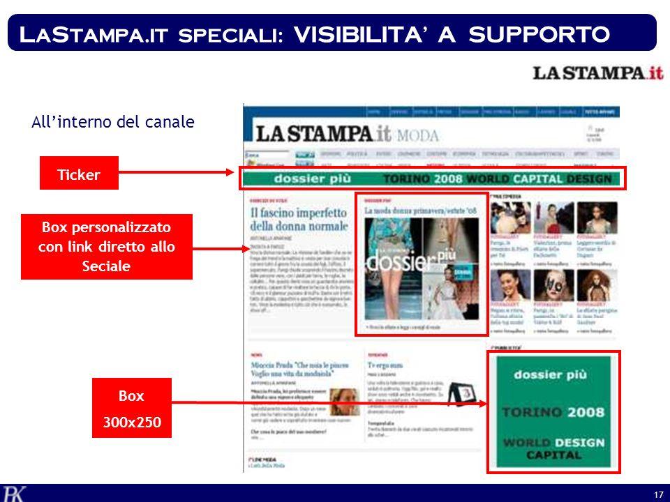 17 Ticker Allinterno del canale Box personalizzato con link diretto allo Seciale Box 300x250 LaStampa.it speciali: VISIBILITA A SUPPORTO