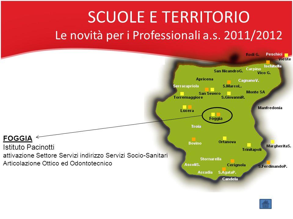 SCUOLE E TERRITORIO Le novità per i Professionali a.s. 2011/2012 FOGGIA Istituto Pacinotti attivazione Settore Servizi indirizzo Servizi Socio-Sanitar
