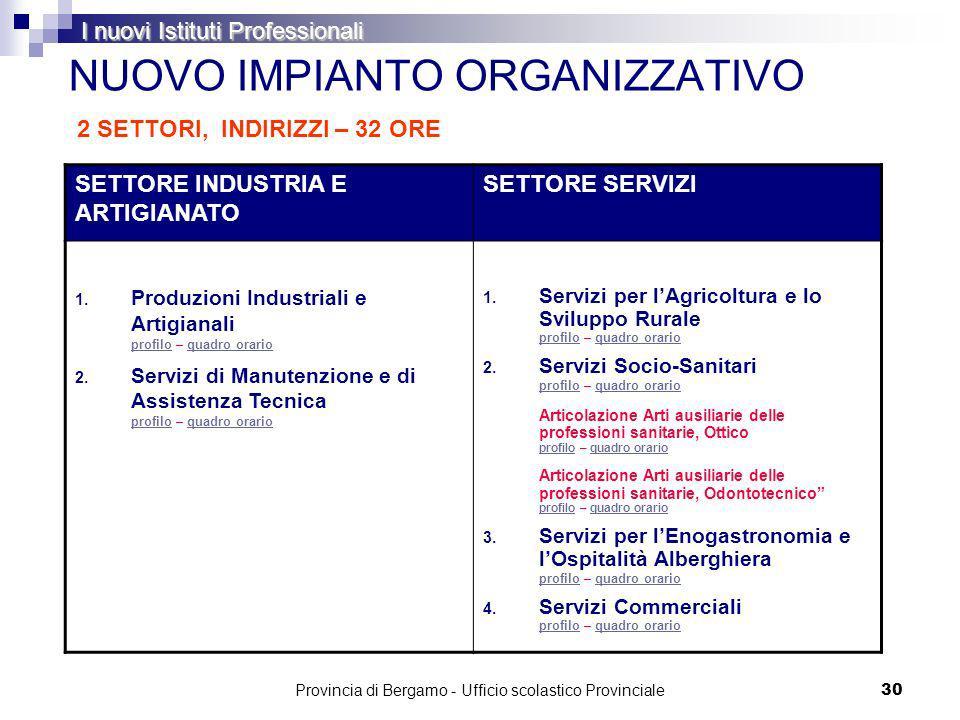 Provincia di Bergamo - Ufficio scolastico Provinciale 30 NUOVO IMPIANTO ORGANIZZATIVO SETTORE INDUSTRIA E ARTIGIANATO SETTORE SERVIZI 1.