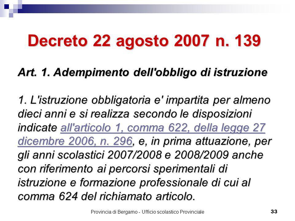 Provincia di Bergamo - Ufficio scolastico Provinciale 33 Art.