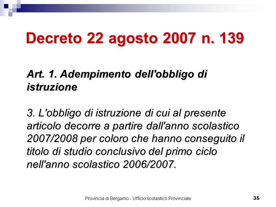 Provincia di Bergamo - Ufficio scolastico Provinciale 35 Art.