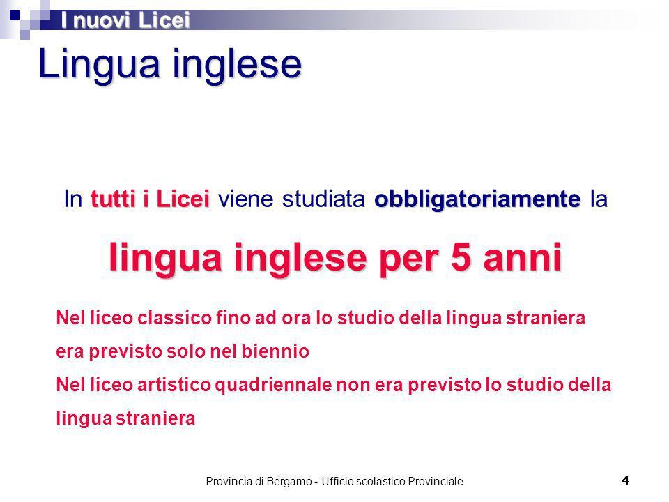 Provincia di Bergamo - Ufficio scolastico Provinciale 65 Liceo Artistico Il percorso del liceo artistico è indirizzato allo studio dei fenomeni estetici e alla pratica artistica.