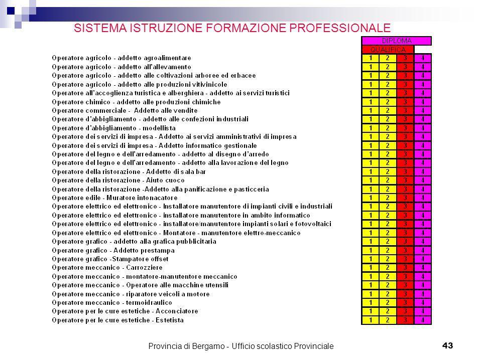 Provincia di Bergamo - Ufficio scolastico Provinciale 43 SISTEMA ISTRUZIONE FORMAZIONE PROFESSIONALE