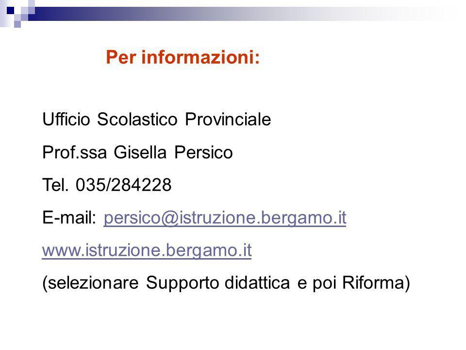 Ufficio Scolastico Provinciale Prof.ssa Gisella Persico Tel.