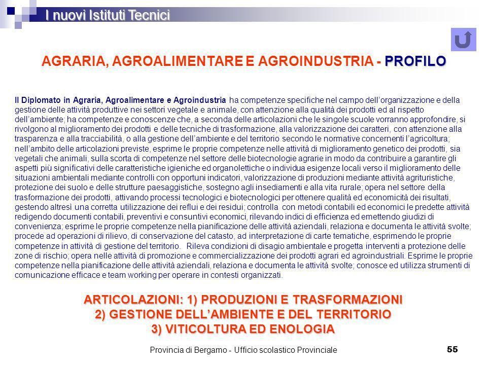 Provincia di Bergamo - Ufficio scolastico Provinciale 55 PROFILO AGRARIA, AGROALIMENTARE E AGROINDUSTRIA - PROFILO I nuovi Istituti Tecnici Il Diplomato in Agraria, Agroalimentare e Agroindustria ha competenze specifiche nel campo dellorganizzazione e della gestione delle attività produttive nei settori vegetale e animale, con attenzione alla qualità dei prodotti ed al rispetto dellambiente; ha competenze e conoscenze che, a seconda delle articolazioni che le singole scuole vorranno approfondire, si rivolgono al miglioramento dei prodotti e delle tecniche di trasformazione, alla valorizzazione dei caratteri, con attenzione alla trasparenza e alla tracciabilità, o alla gestione dellambiente e del territorio secondo le normative concernenti lagricoltura; nellambito delle articolazioni previste, esprime le proprie competenze nelle attività di miglioramento genetico dei prodotti, sia vegetali che animali, sulla scorta di competenze nel settore delle biotecnologie agrarie in modo da contribuire a garantire gli aspetti più significativi delle caratteristiche igieniche ed organolettiche o individua esigenze locali verso il miglioramento delle situazioni ambientali mediante controlli con opportuni indicatori, valorizzazione di produzioni mediante attività agrituristiche, protezione dei suolo e delle strutture paesaggistiche, sostegno agli insediamenti e alla vita rurale; opera nel settore della trasformazione dei prodotti, attivando processi tecnologici e biotecnologici per ottenere qualità ed economicità dei risultati, gestendo altresì una corretta utilizzazione dei reflui e dei residui; controlla con metodi contabili ed economici le predette attività redigendo documenti contabili, preventivi e consuntivi economici, rilevando indici di efficienza ed emettendo giudizi di convenienza; esprime le proprie competenze nella pianificazione delle attività aziendali, relaziona e documenta le attività svolte; procede ad operazioni di rilievo, di conservazione del catasto, ad interpr