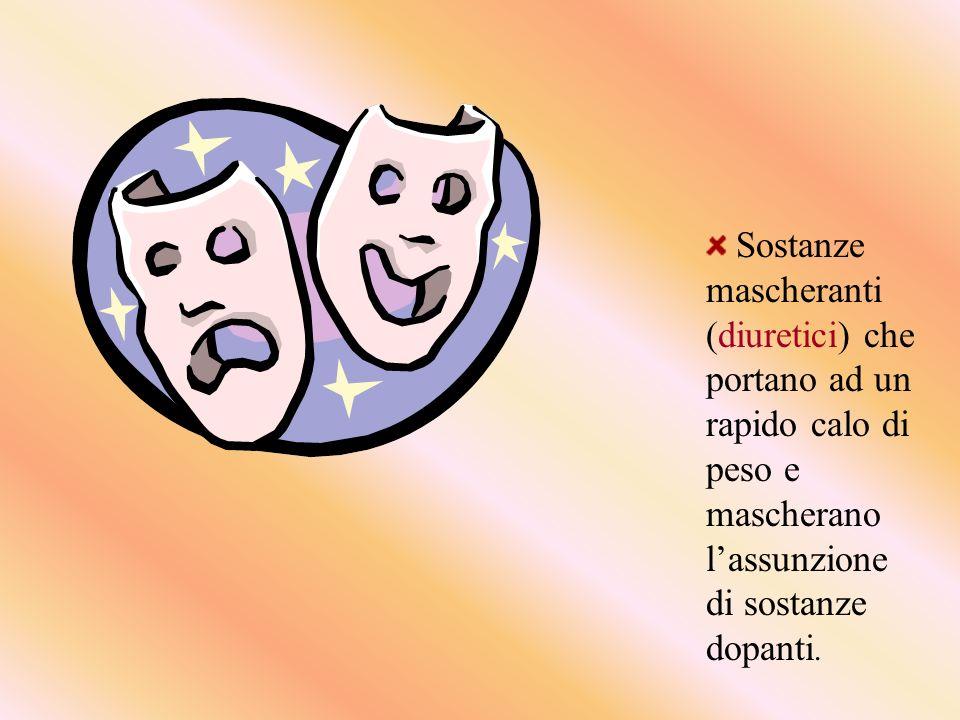 Sostanze mascheranti (diuretici) che portano ad un rapido calo di peso e mascherano lassunzione di sostanze dopanti.