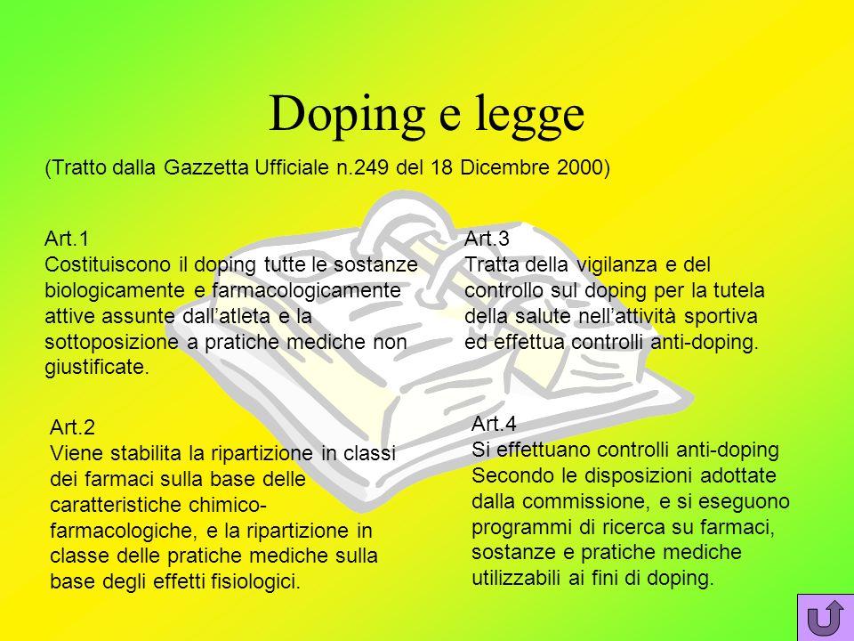 Doping e legge (Tratto dalla Gazzetta Ufficiale n.249 del 18 Dicembre 2000) Art.1 Costituiscono il doping tutte le sostanze biologicamente e farmacologicamente attive assunte dallatleta e la sottoposizione a pratiche mediche non giustificate.