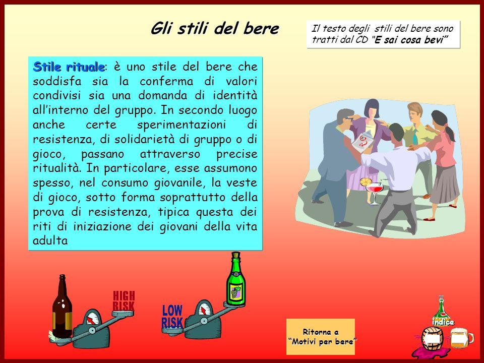 indice Gli stili del bere Stile rituale Stile rituale: è uno stile del bere che soddisfa sia la conferma di valori condivisi sia una domanda di identità allinterno del gruppo.