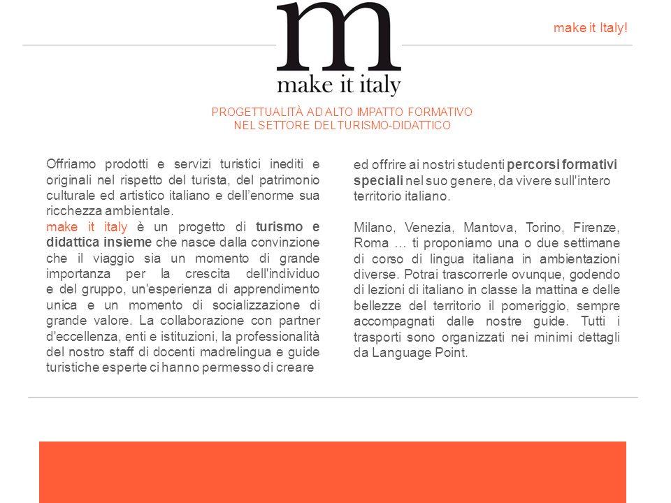Offriamo prodotti e servizi turistici inediti e originali nel rispetto del turista, del patrimonio culturale ed artistico italiano e dellenorme sua ri
