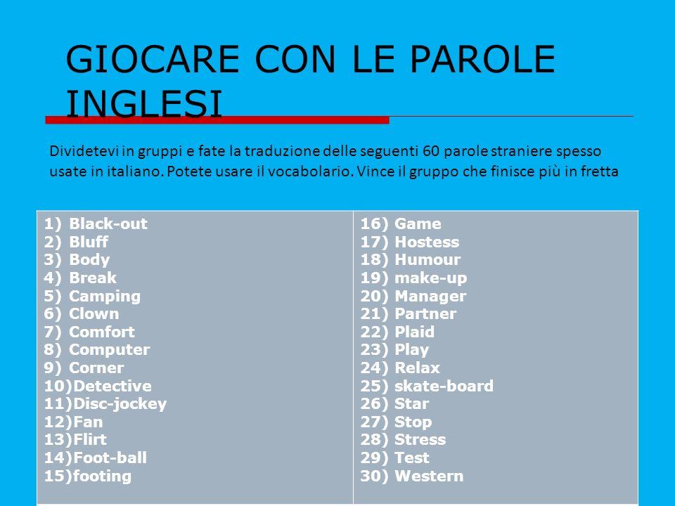 andreina petrucci GIOCARE CON LE PAROLE INGLESI Dividetevi in gruppi e fate la traduzione delle seguenti 60 parole straniere spesso usate in italiano.
