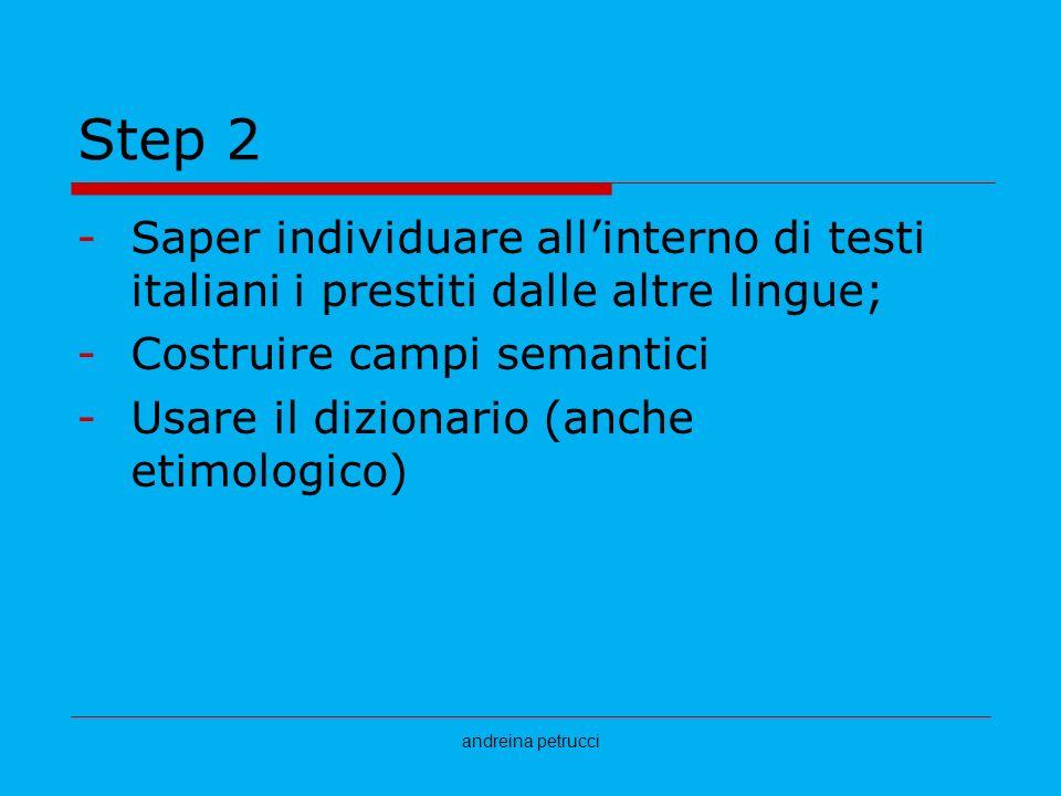 andreina petrucci Step 2 -Saper individuare allinterno di testi italiani i prestiti dalle altre lingue; -Costruire campi semantici -Usare il dizionari