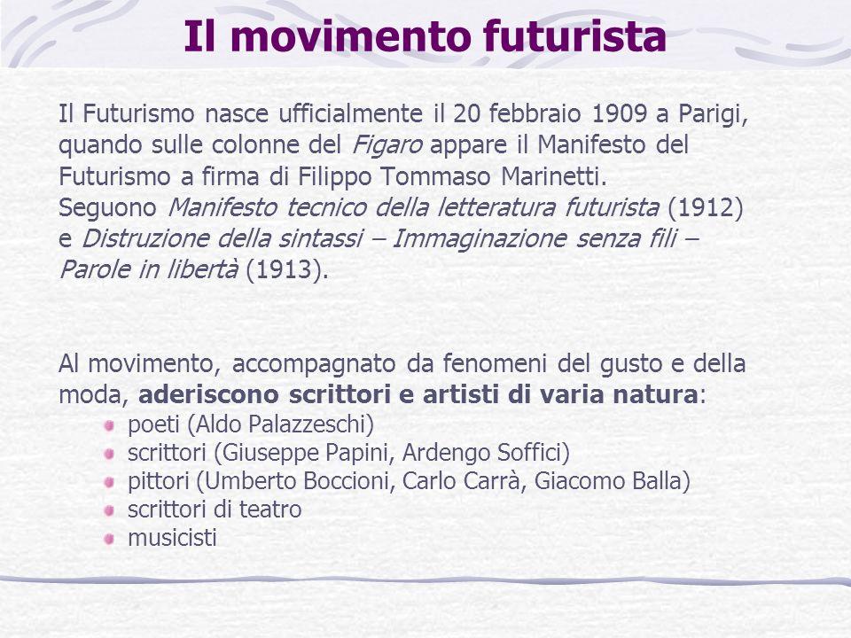 Il movimento futurista Il Futurismo nasce ufficialmente il 20 febbraio 1909 a Parigi, quando sulle colonne del Figaro appare il Manifesto del Futurism