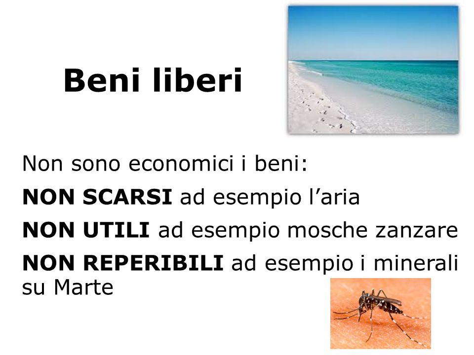 Beni liberi Non sono economici i beni: NON SCARSI ad esempio laria NON UTILI ad esempio mosche zanzare NON REPERIBILI ad esempio i minerali su Marte