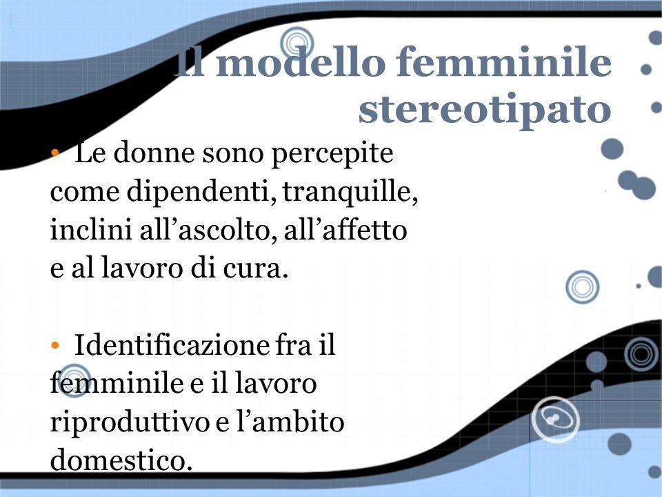 Il modello femminile stereotipato Le donne sono percepite come dipendenti, tranquille, inclini allascolto, allaffetto e al lavoro di cura. Identificaz
