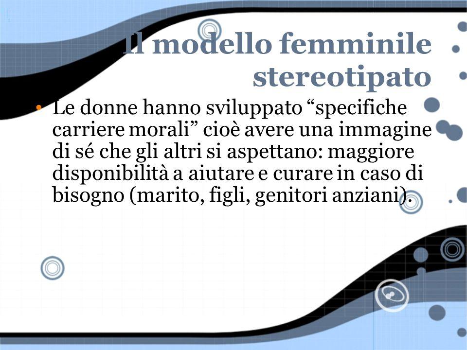 Il modello femminile stereotipato Le donne hanno sviluppato specifiche carriere morali cioè avere una immagine di sé che gli altri si aspettano: maggi