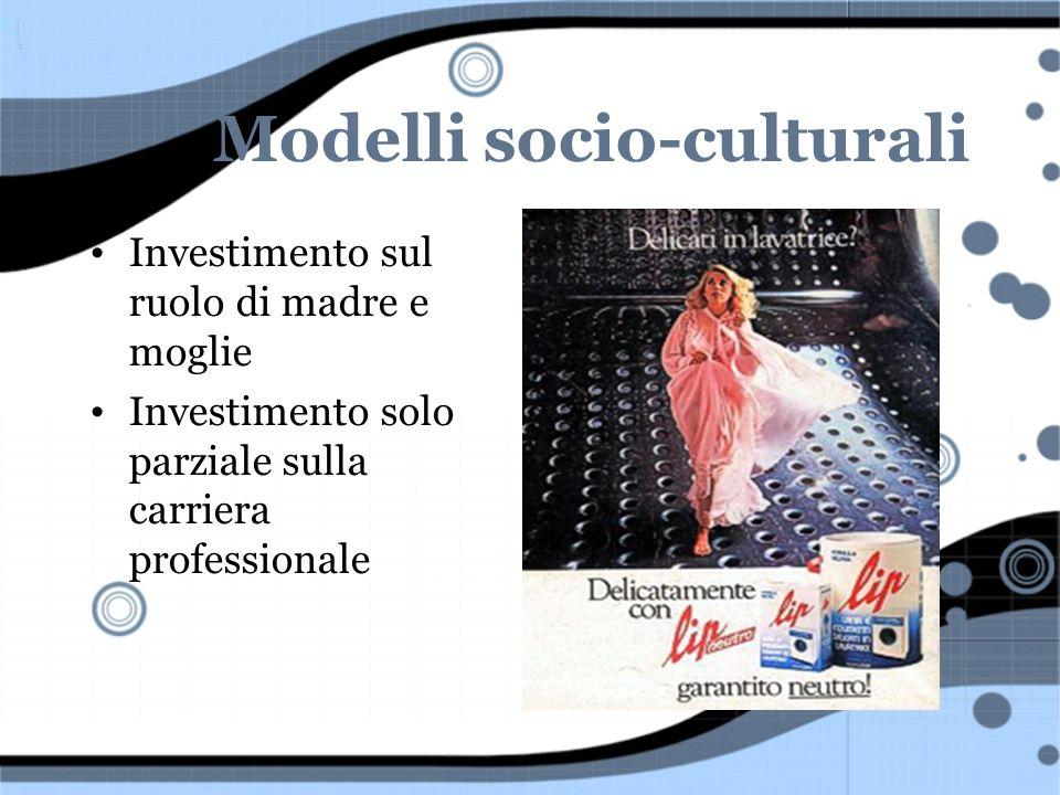 Modelli socio-culturali Investimento sul ruolo di madre e moglie Investimento solo parziale sulla carriera professionale