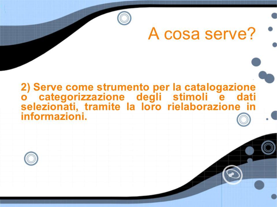 A cosa serve? 2) Serve come strumento per la catalogazione o categorizzazione degli stimoli e dati selezionati, tramite la loro rielaborazione in info