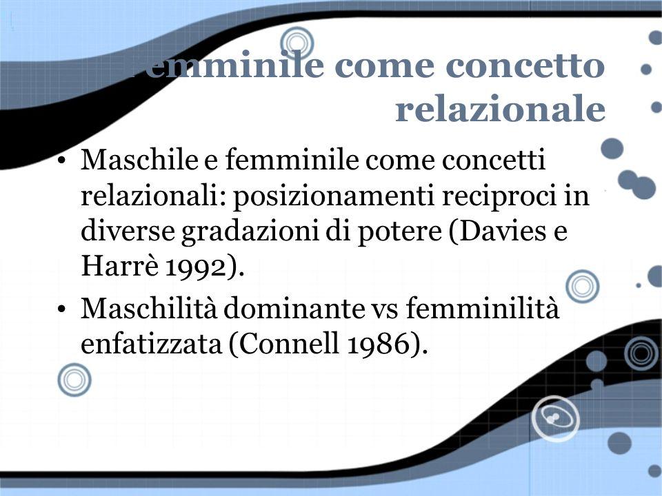 Femminile come concetto relazionale Maschile e femminile come concetti relazionali: posizionamenti reciproci in diverse gradazioni di potere (Davies e