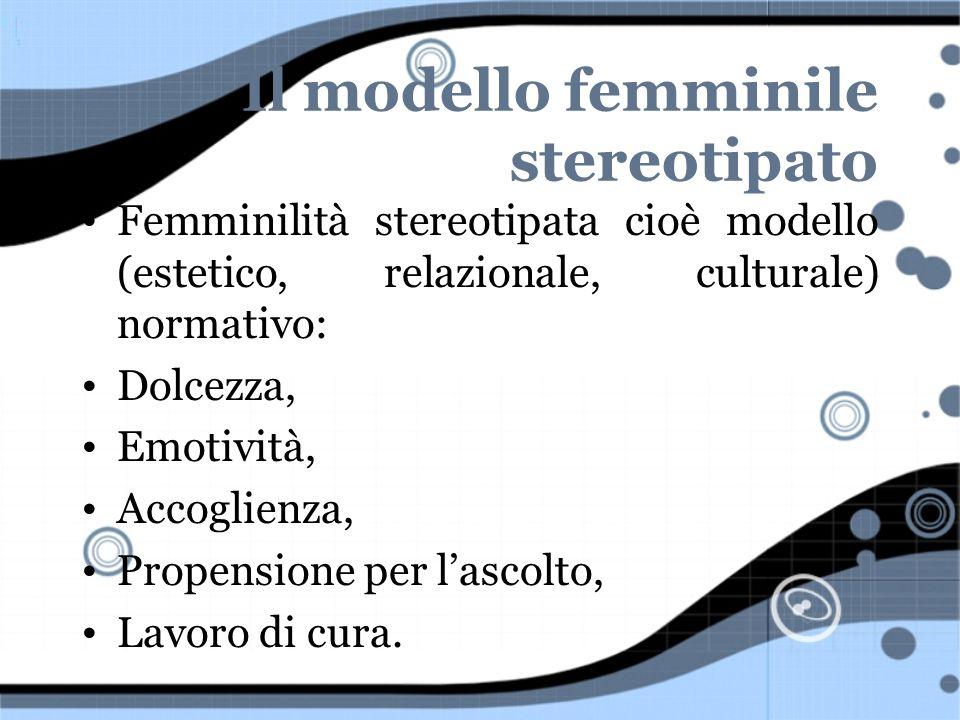 Il modello femminile stereotipato Femminilità stereotipata cioè modello (estetico, relazionale, culturale) normativo: Dolcezza, Emotività, Accoglienza