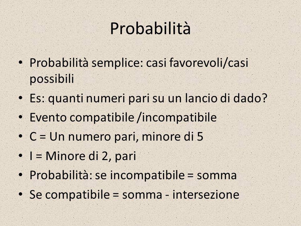 Probabilità Probabilità semplice: casi favorevoli/casi possibili Es: quanti numeri pari su un lancio di dado? Evento compatibile /incompatibile C = Un