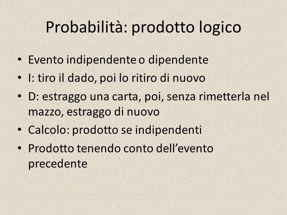 Probabilità: prodotto logico Evento indipendente o dipendente I: tiro il dado, poi lo ritiro di nuovo D: estraggo una carta, poi, senza rimetterla nel