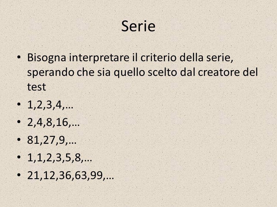 Serie Bisogna interpretare il criterio della serie, sperando che sia quello scelto dal creatore del test 1,2,3,4,… 2,4,8,16,… 81,27,9,… 1,1,2,3,5,8,…