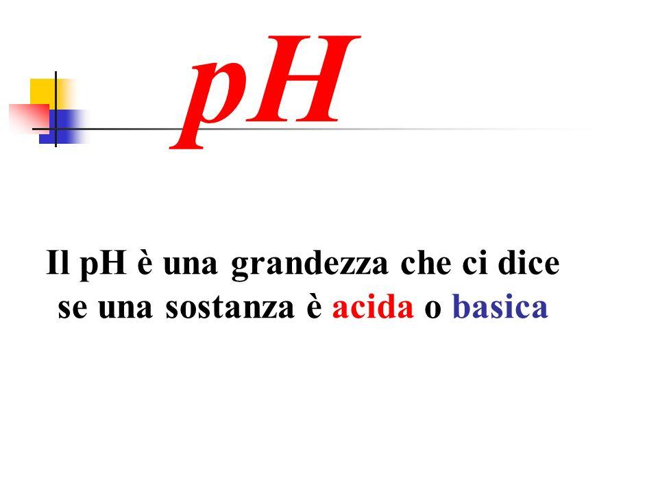pH Il pH è una grandezza che ci dice se una sostanza è acida o basica