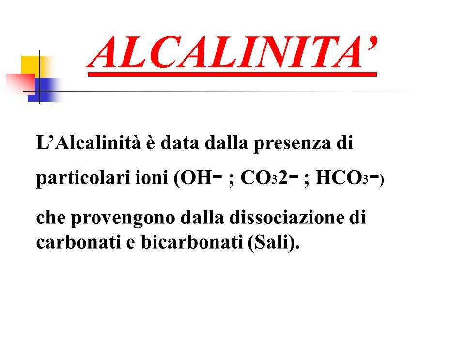 ALCALINITA LAlcalinità è data dalla presenza di particolari ioni (OH - ; CO 3 2 - ; HCO 3 - ) che provengono dalla dissociazione di carbonati e bicarbonati (Sali).