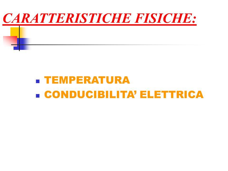 CARATTERISTICHE FISICHE: TEMPERATURA CONDUCIBILITA ELETTRICA