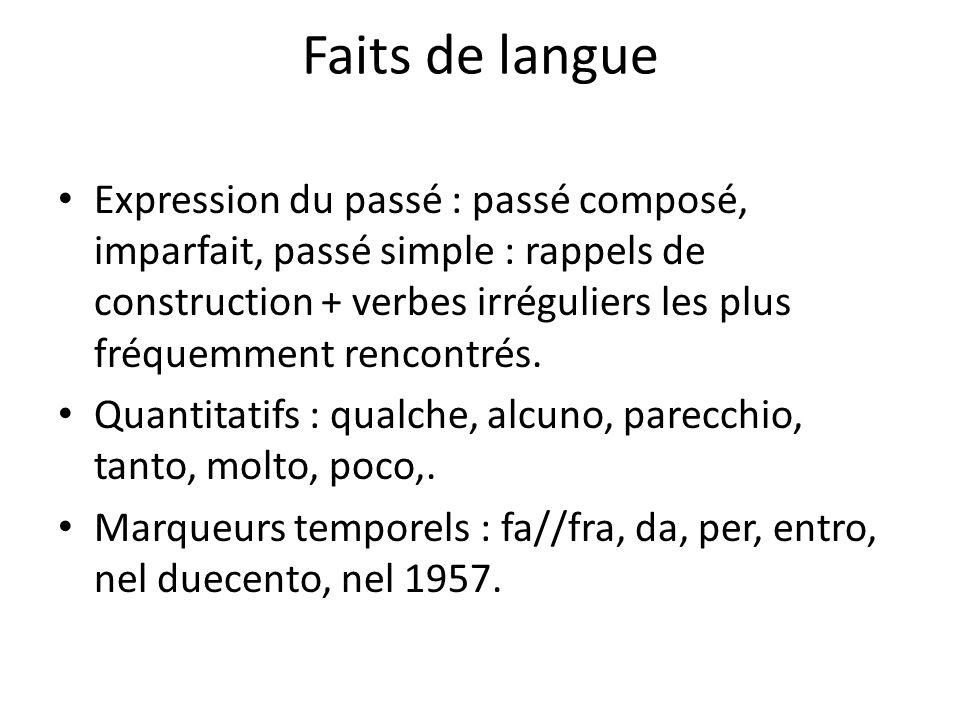 Faits de langue Expression du passé : passé composé, imparfait, passé simple : rappels de construction + verbes irréguliers les plus fréquemment renco