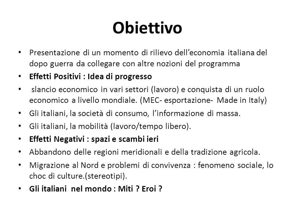 Obiettivo Presentazione di un momento di rilievo delleconomia italiana del dopo guerra da collegare con altre nozioni del programma Effetti Positivi :