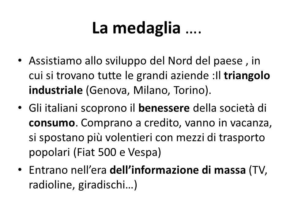 La medaglia …. Assistiamo allo sviluppo del Nord del paese, in cui si trovano tutte le grandi aziende :Il triangolo industriale (Genova, Milano, Torin