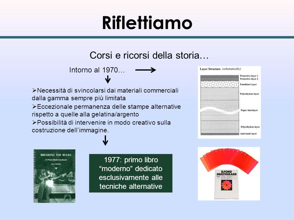 Riflettiamo Corsi e ricorsi della storia… Intorno al 1970… Necessità di svincolarsi dai materiali commerciali dalla gamma sempre più limitata Eccezion