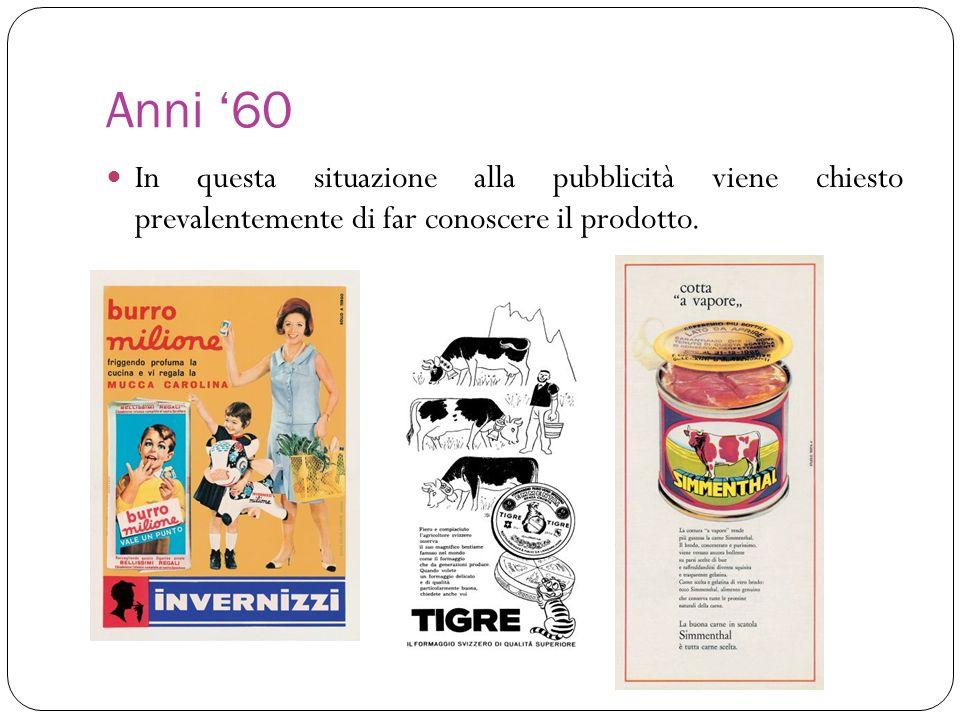 Anni 60 In questa situazione alla pubblicità viene chiesto prevalentemente di far conoscere il prodotto.